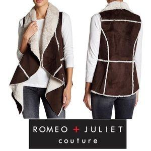 ROMEO + JULIET COUTURE Faux Fur Drape Vest
